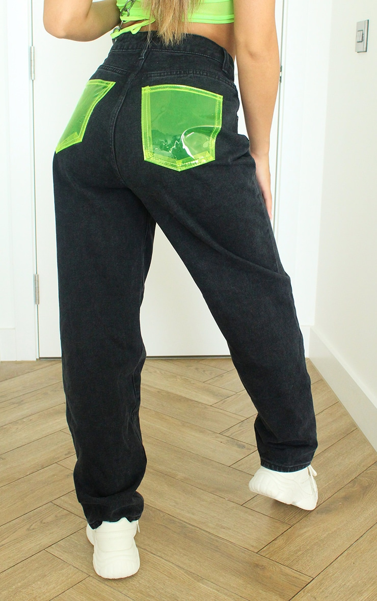 Washed Black With Neon Green Perspex Pocket Mom Jeans 3