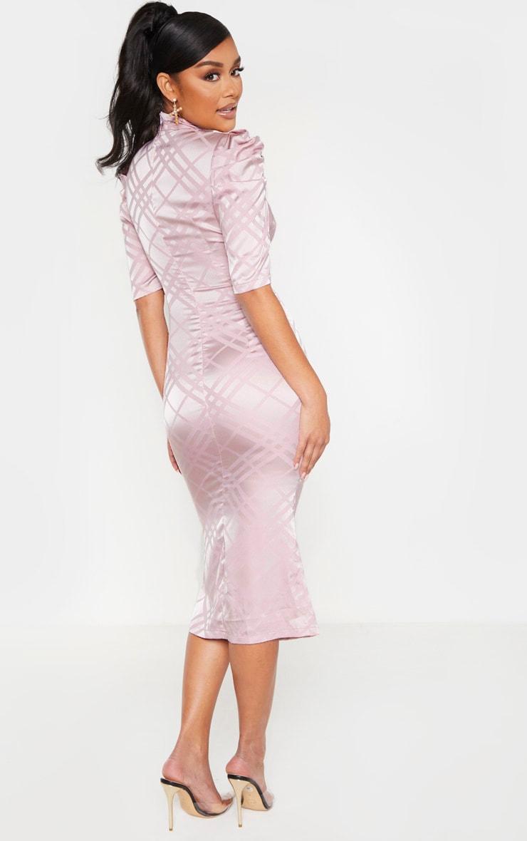 Lilac High Neck Puff Sleeve Keyhole Midi Dress 2
