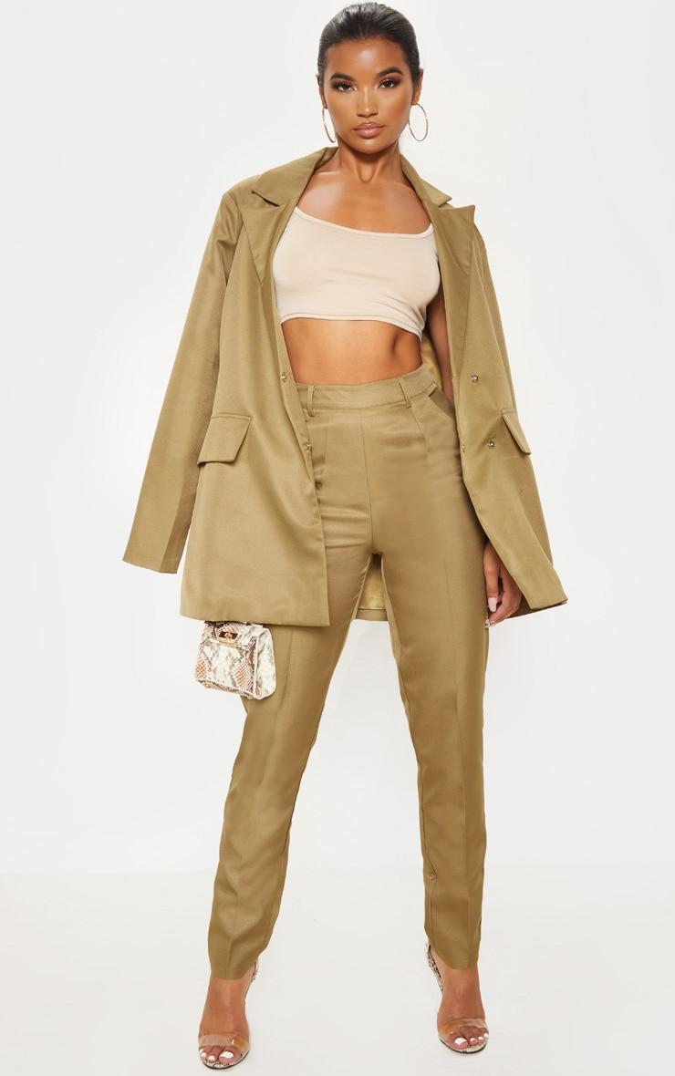 Olive Slim Suit Pants  1
