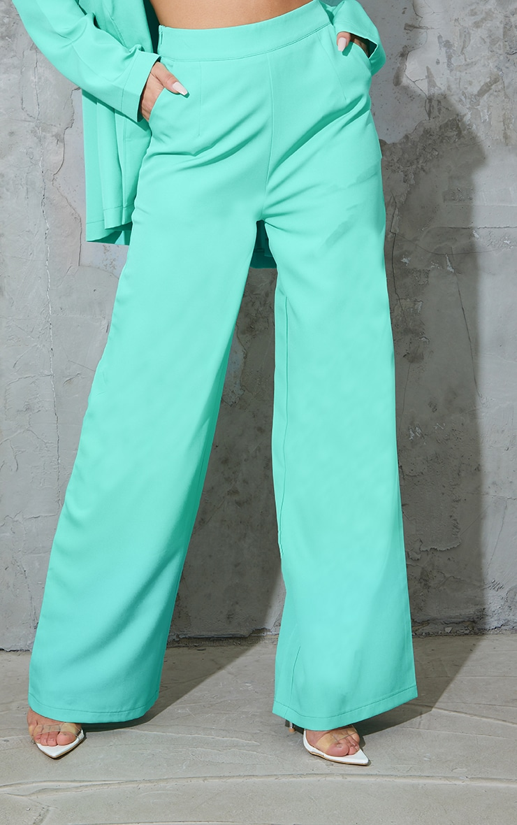 Teal Tailored Wide Leg Pants 2