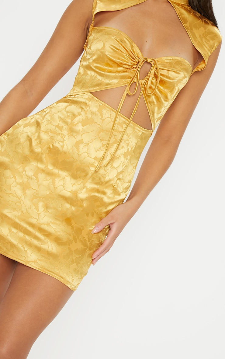 Mustard Floral Satin High Neck Cut Out Front Bodycon Dress 5