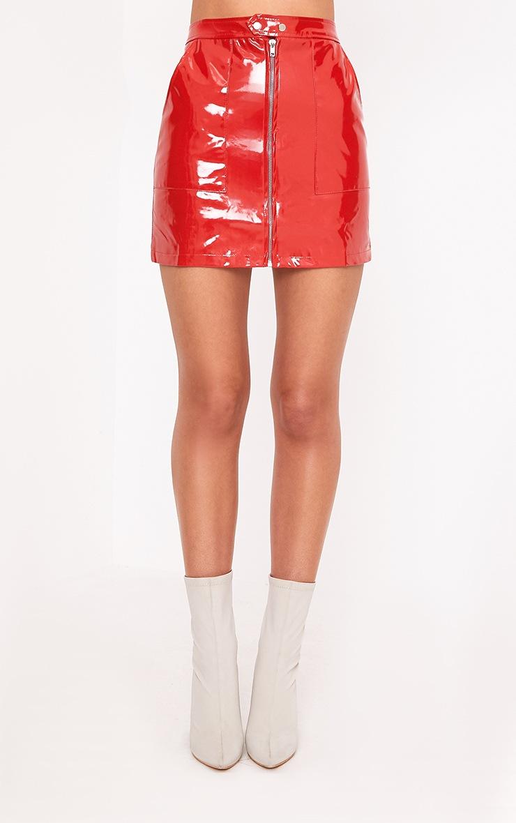 Elinor Red Zip Front Vinyl Mini Skirt 3
