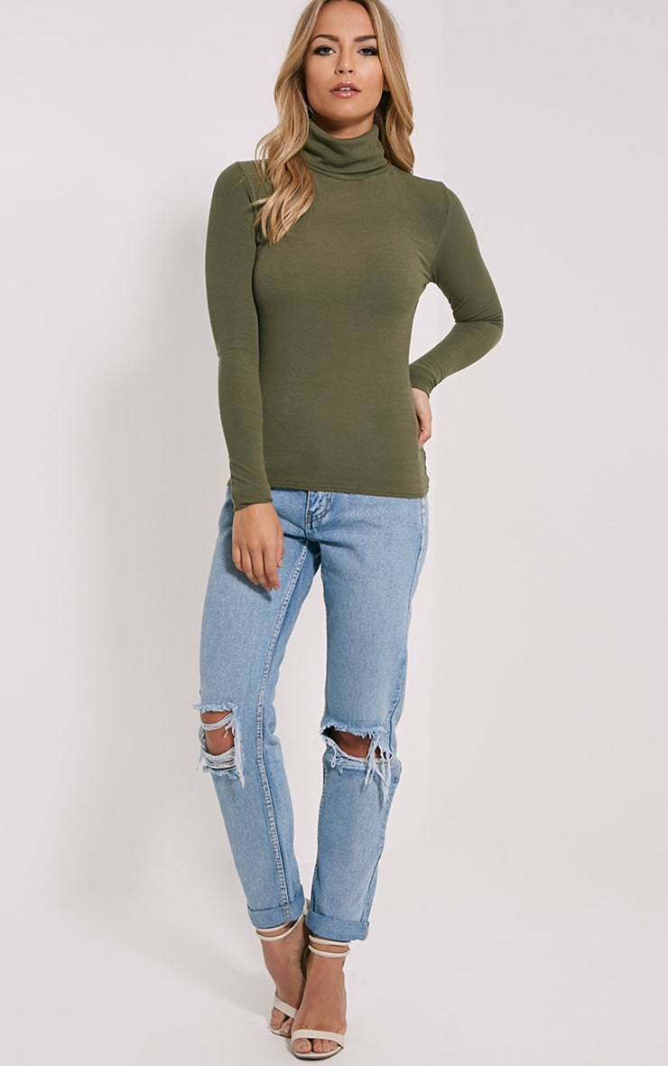 Khaki Roll Neck Top 2