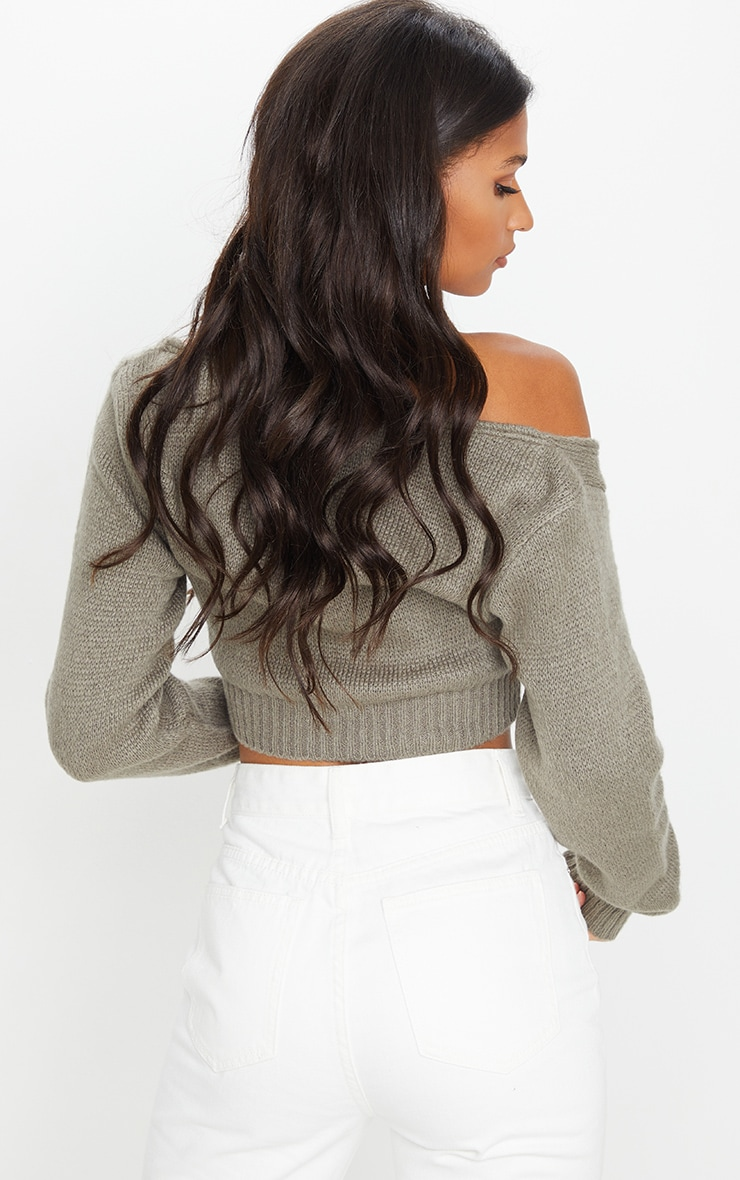 Khaki V Neck Off Shoulder Soft Knitted Crop Sweater 2