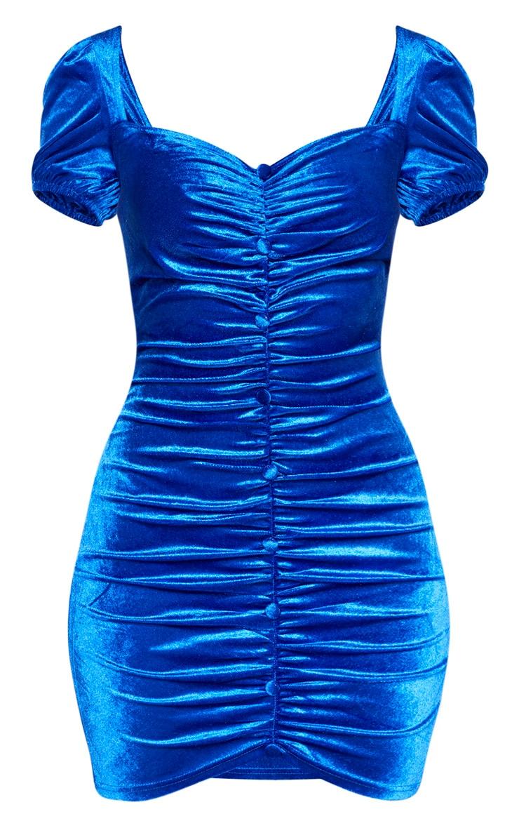 Cobalt Velvet Ruched Button Detail Bodycon Dress 3