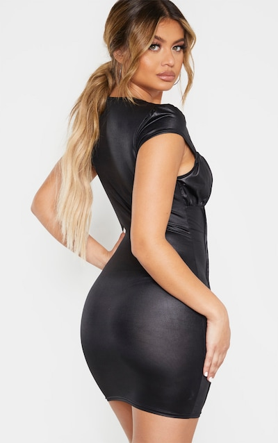 Black Metallic Slinky Ruched Bust Bodycon Dress