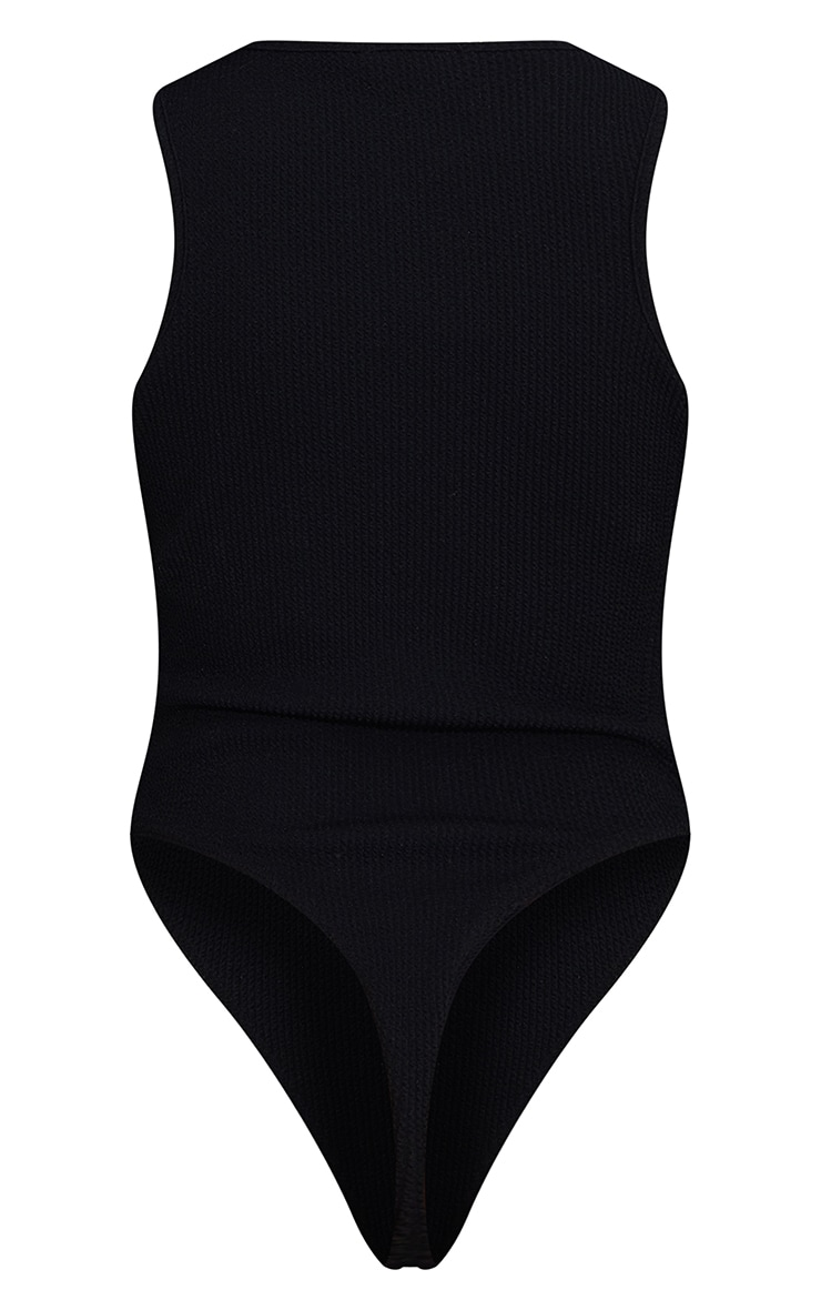 Black Crinkle Rib Racer Neck Bodysuit 6