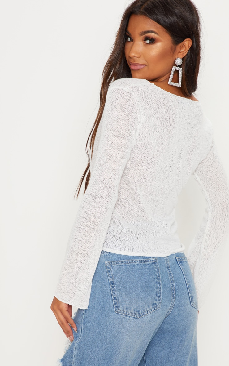Cream Lightweight Knit Tie Front Longsleeve Top 2