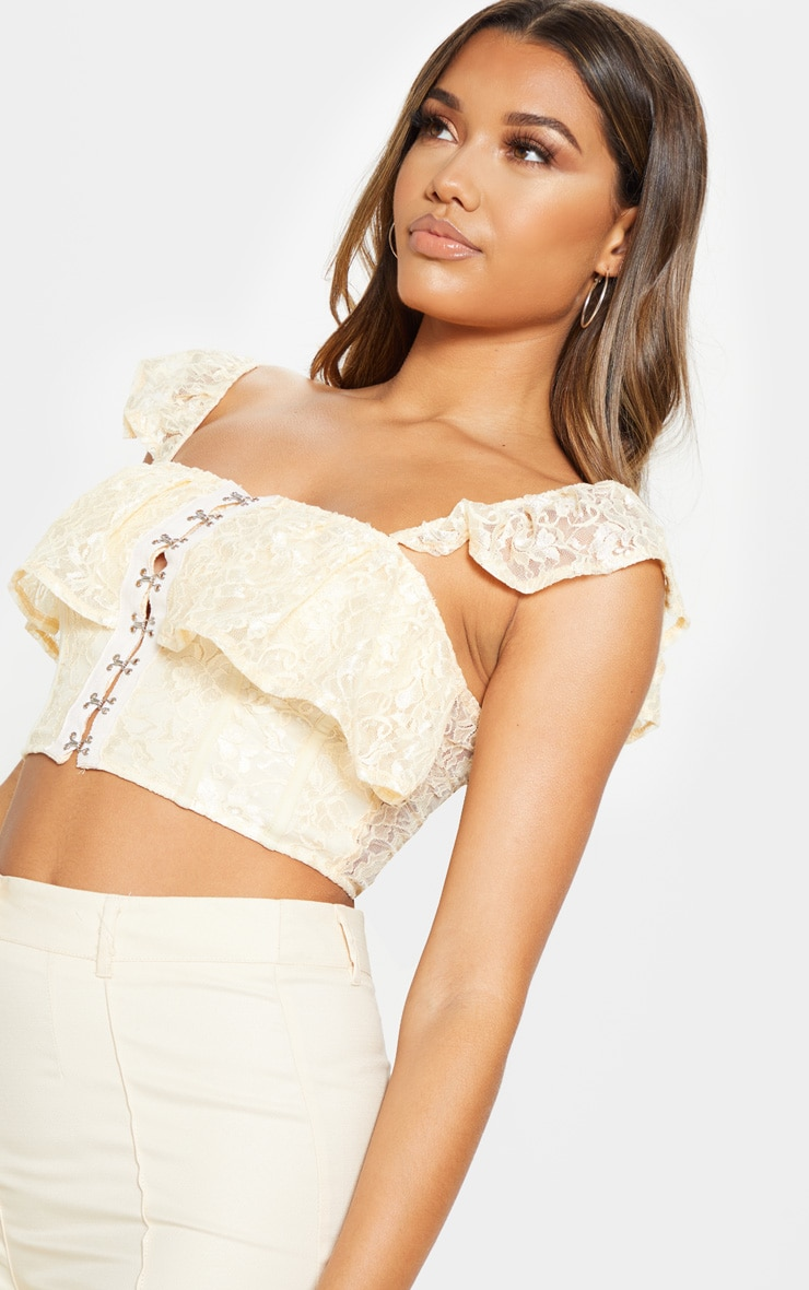Cream Lace Hook and Eye Frill Strap Crop Top  5