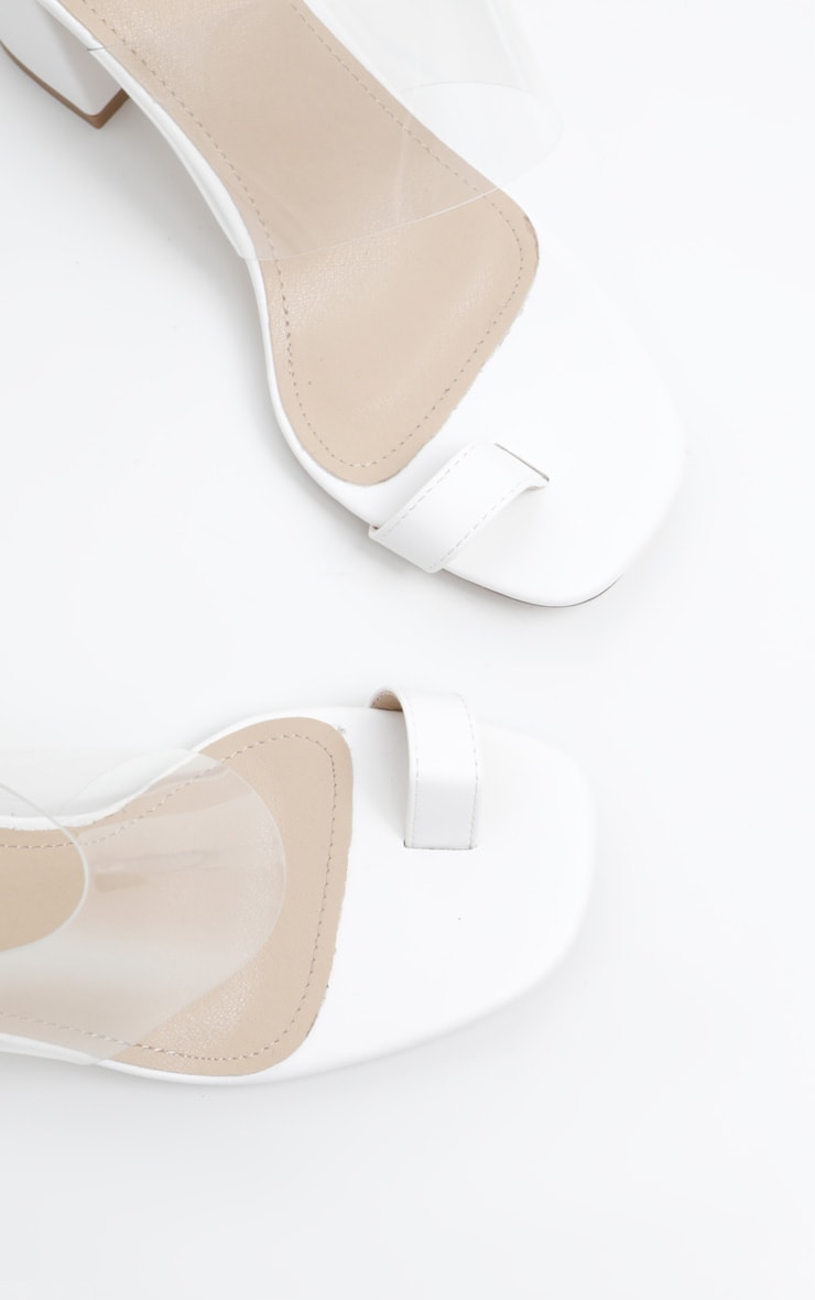 White Clear Block Heel Toe Loop Mule 4