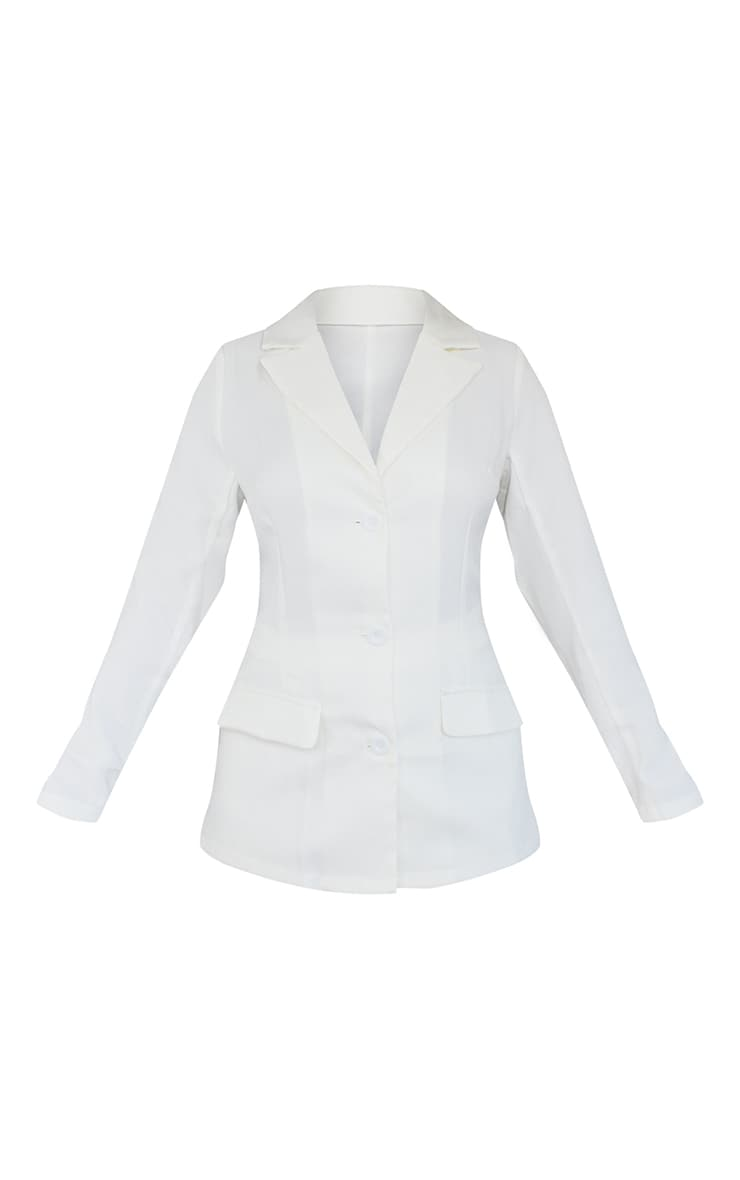 Petite Cream Fitted Long Sleeve Blazer 4