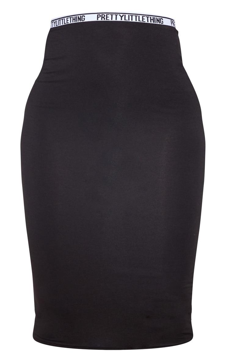 PRETTYLITTLETHING - Jupe mi-longue en jersey noir à liseré 3
