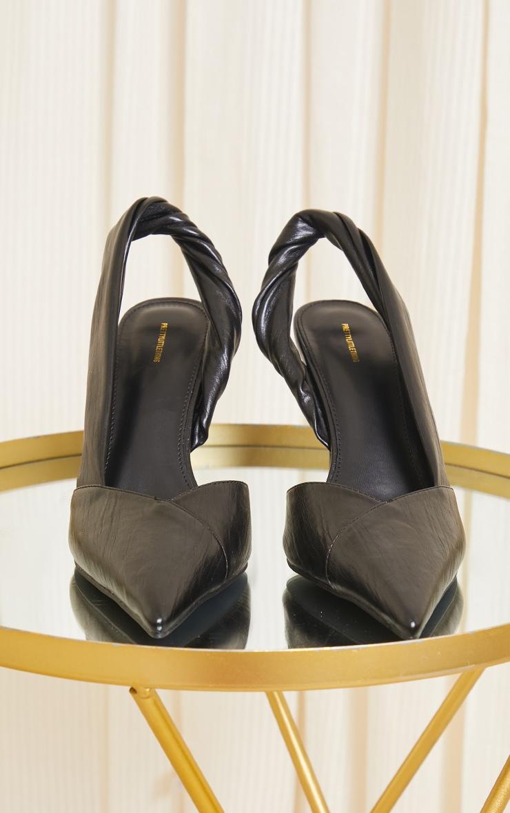 Black PU Point Toe Twist Detail Sling Back Heels 4