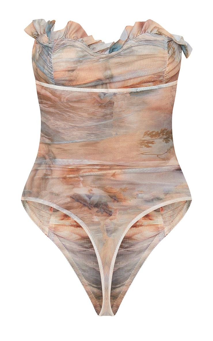 Multi Water Renaissance Printed Mesh Bandeau Bodysuit 6