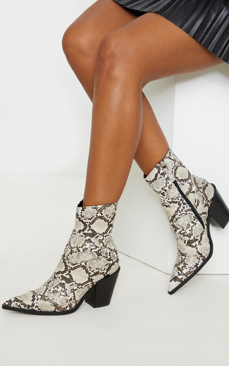 Beige Snake Point Toe Western Heel Ankle Boot 1