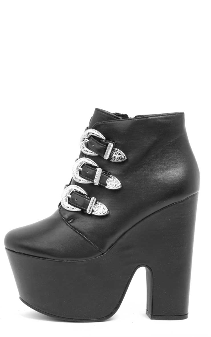 Skylar Black Leather Platform Boots 1