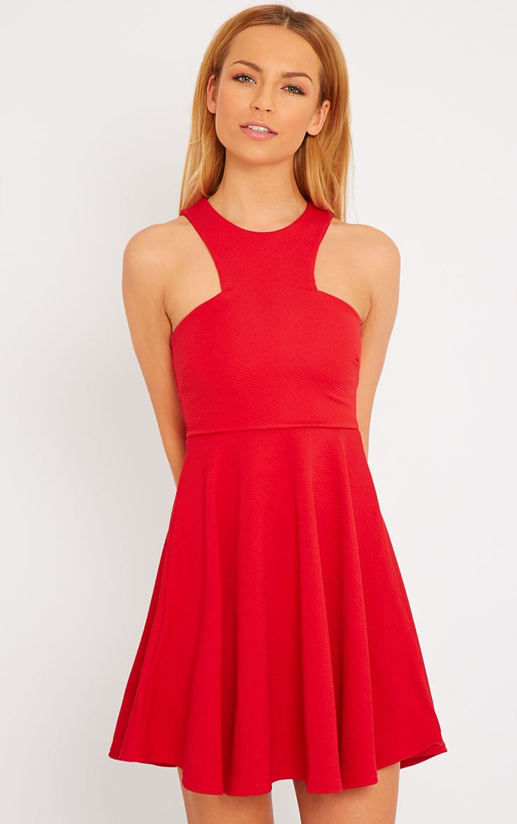 Stacy Red Textured Racer Neck Skater Dress 4
