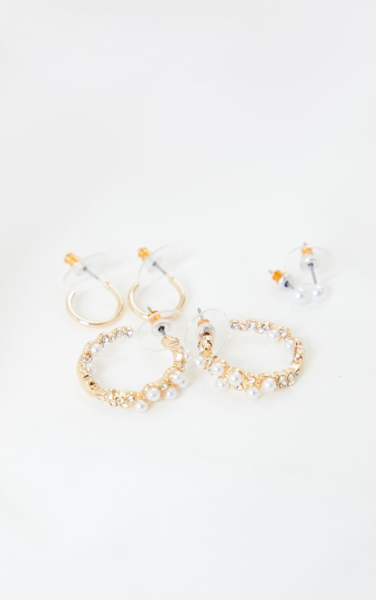 Gold Multi Pack Pearl Assorted Earrings 2