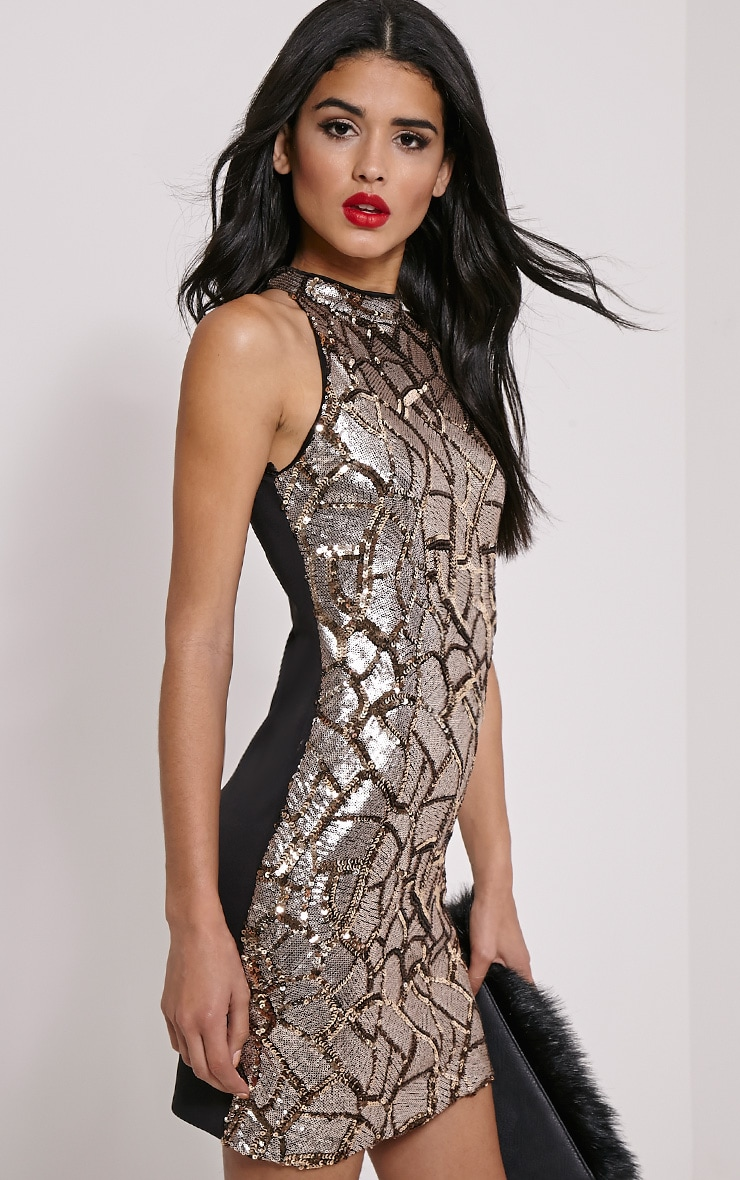 Kye Gold Sequin Mini Dress 4