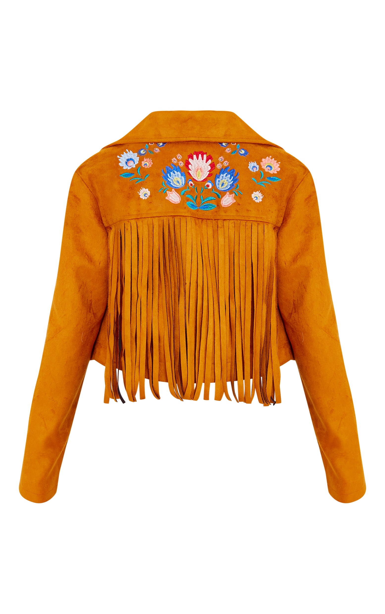 Shilla Tan Faux Suede Embroidered Detail Biker 4