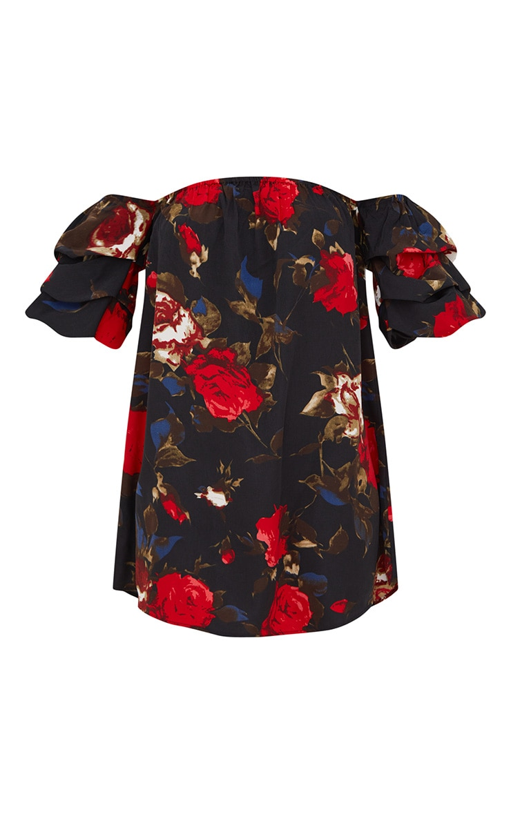 Black Ruched Floral Bardot Sleeve Shift Dress 2