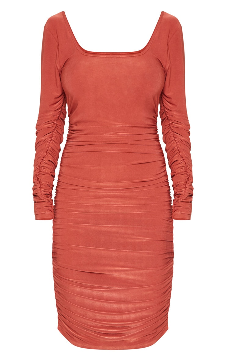 Rust Square Neck Ruched Detail Bodycon Dress 3