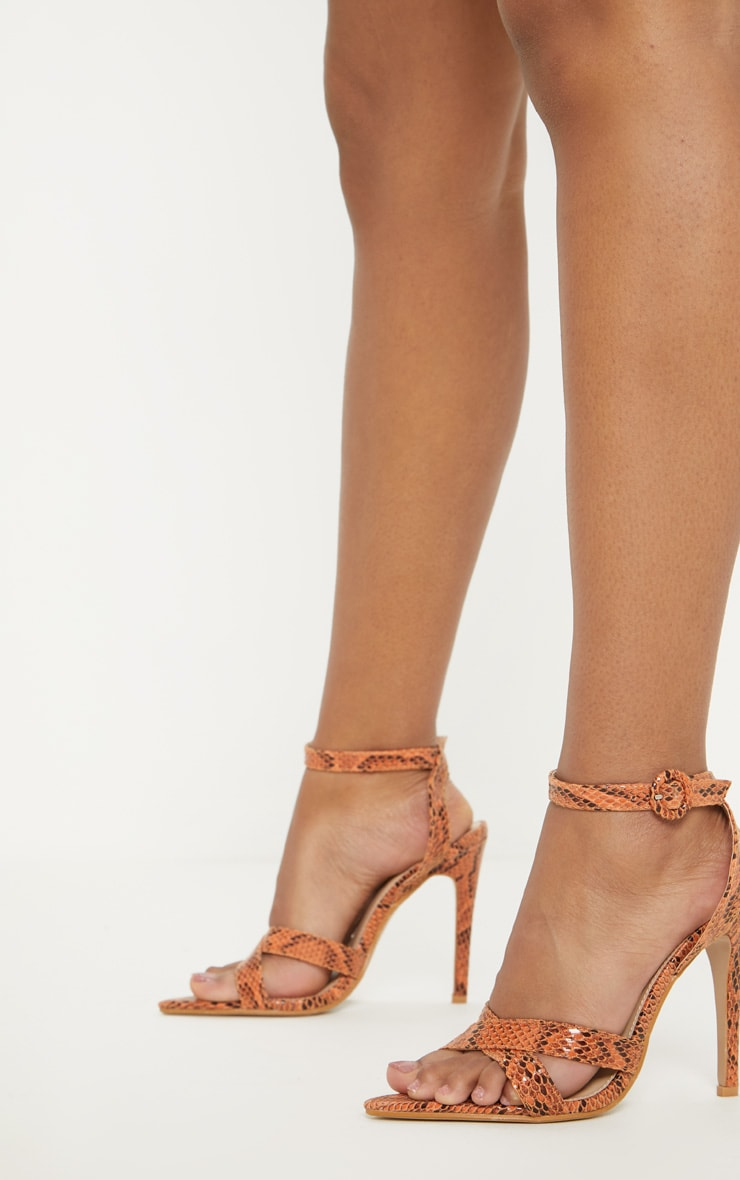Orange Snake Point Toe Cross Strap Sandal 1
