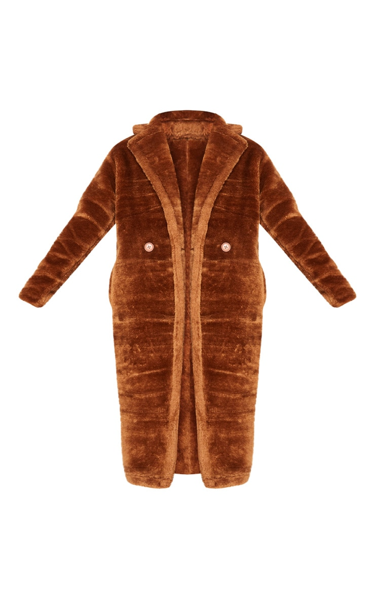 Tall Brown Faux Fur Long Line Coat 3