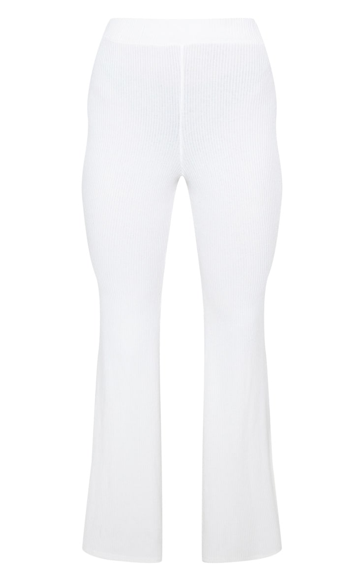 Cream Soft Rib Flare Leg Trousers 4