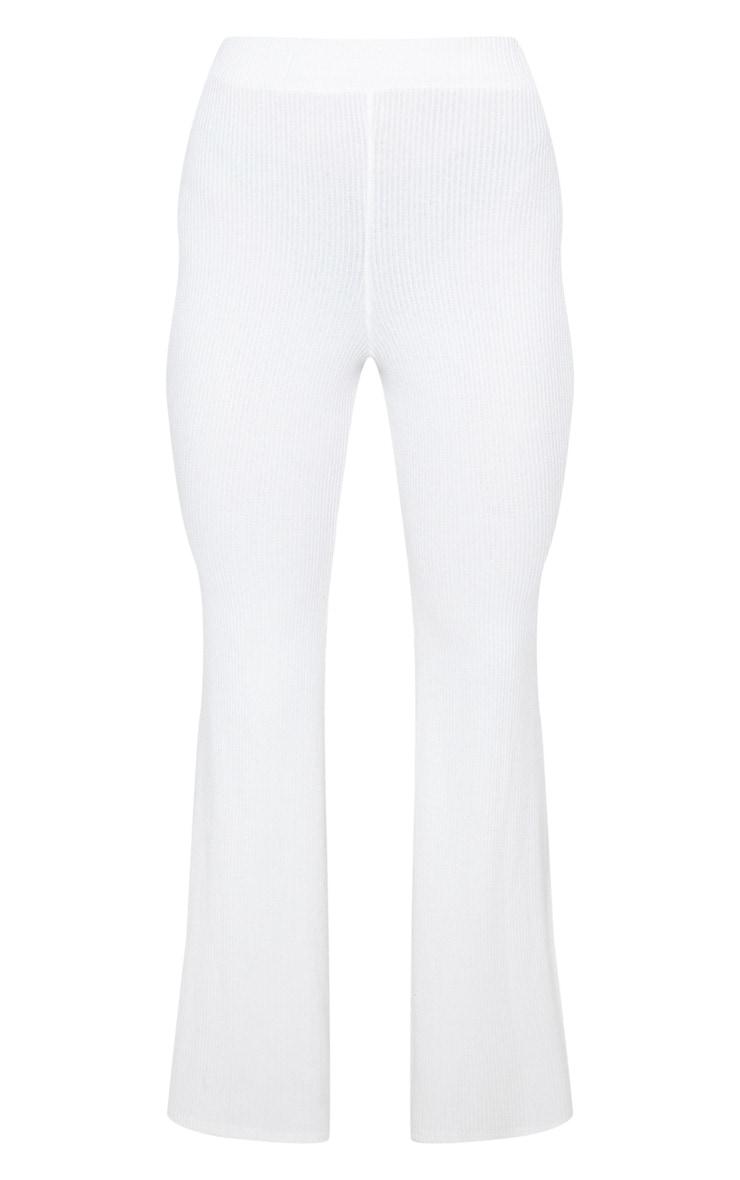 Cream Soft Rib Flare Leg Pants 4