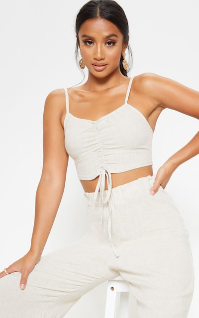 Petite Stone Ruched Front Strappy Crop Top