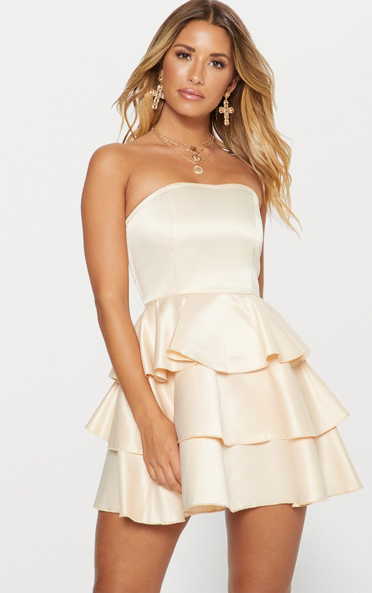 PRETTYLITTLETHING Satin Bandeau Tiered Skater Dress New Styles Cheap Price pIi2X2k6t