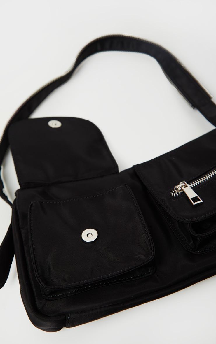 Black Nylon Double Pocket Shoulder Bag 5