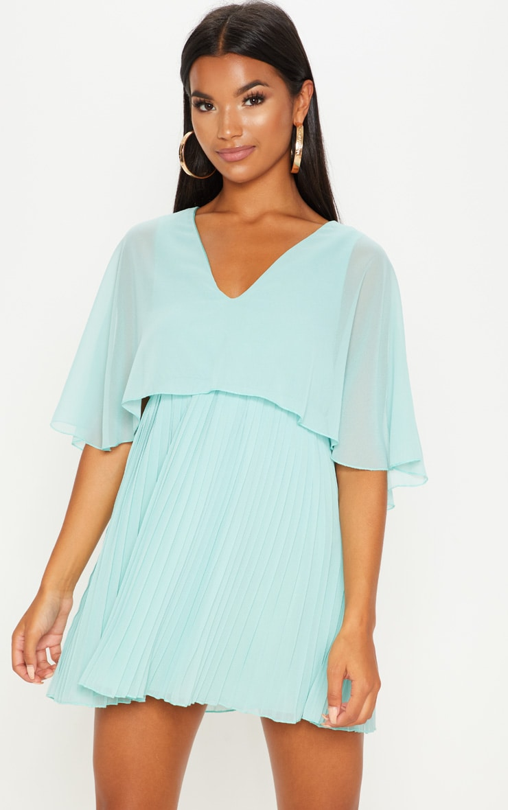 Sage Green Cape Pleated Detail Skater Dress  1