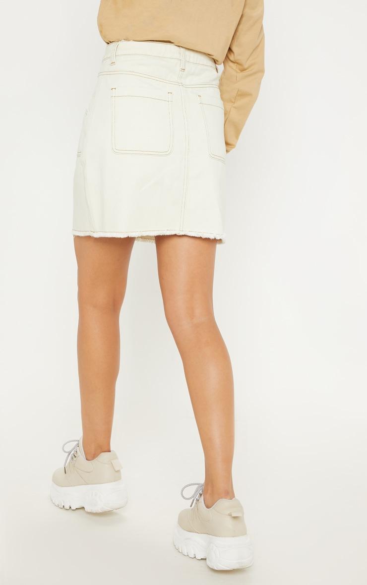 Sand Button Front Contrast Stitch Denim Skirt 4