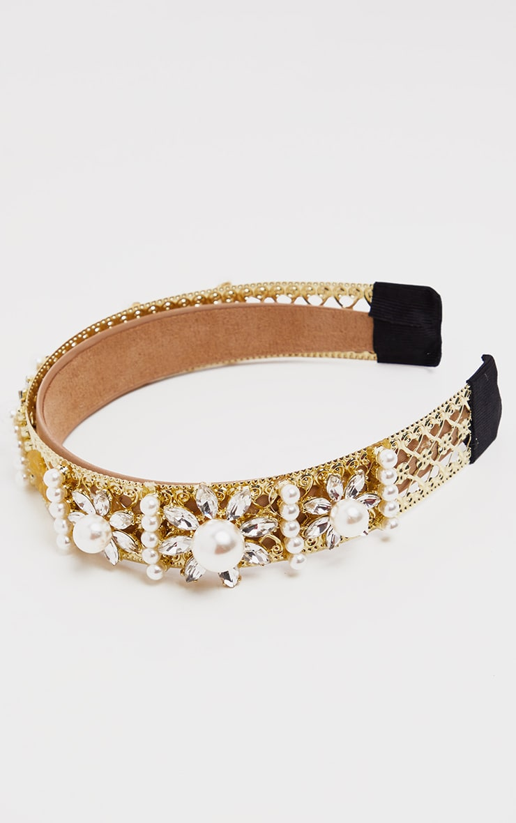 Gold Pearl And Diamante Embellished Alice Headband 3