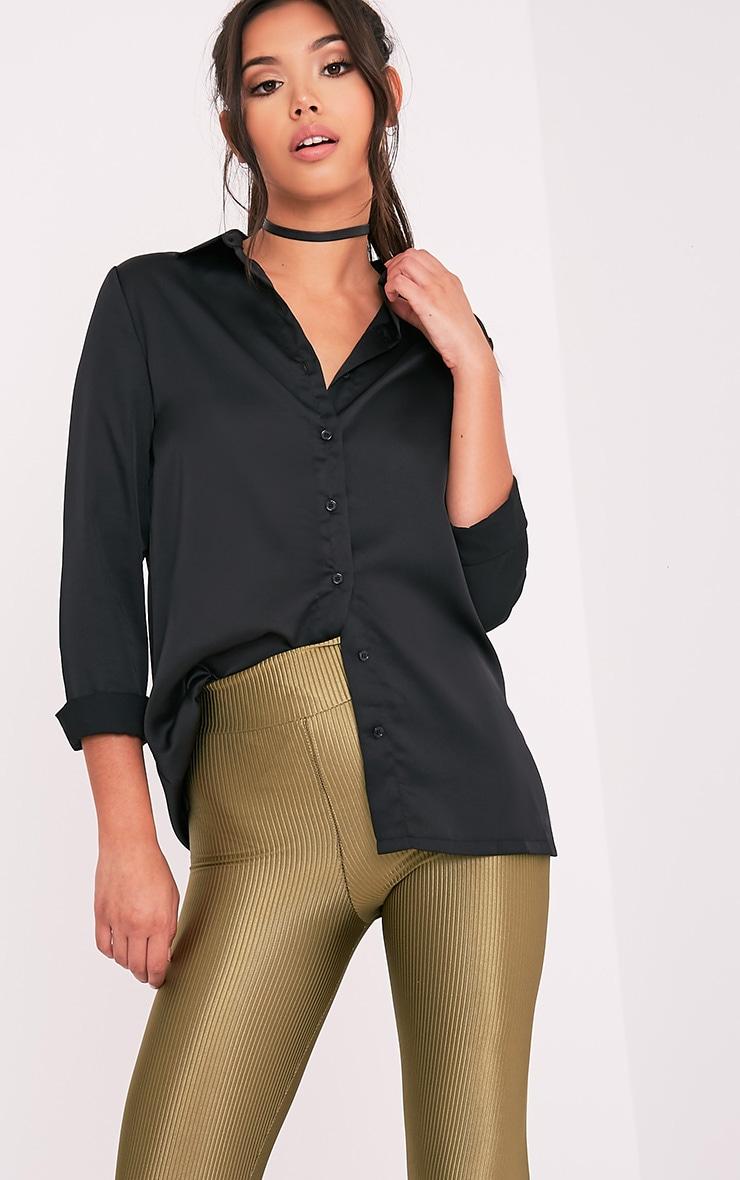 Nayee chemise satin brodée noire 4