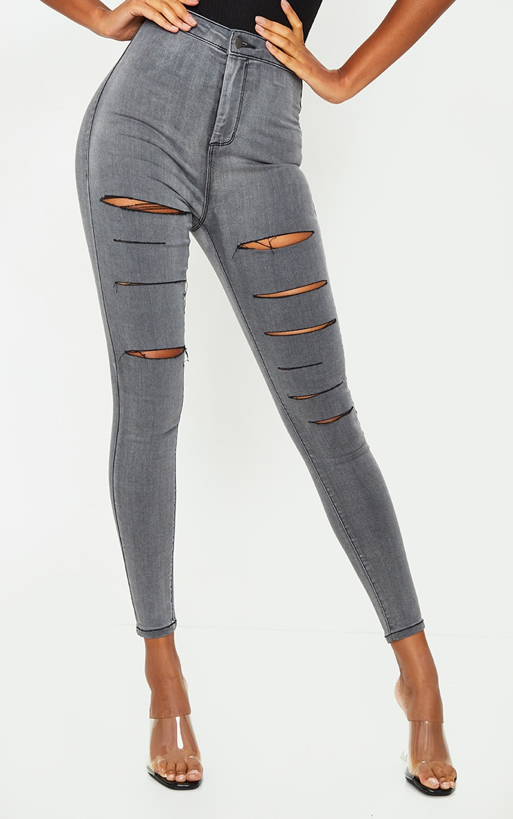 PRETTYLITTLETHING Washed Grey Rip Ripped Disco Skinny Jeans 2