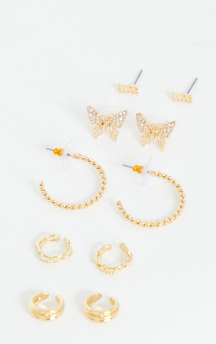 Gold Assorted Earring and Ear Cuff Pack 2