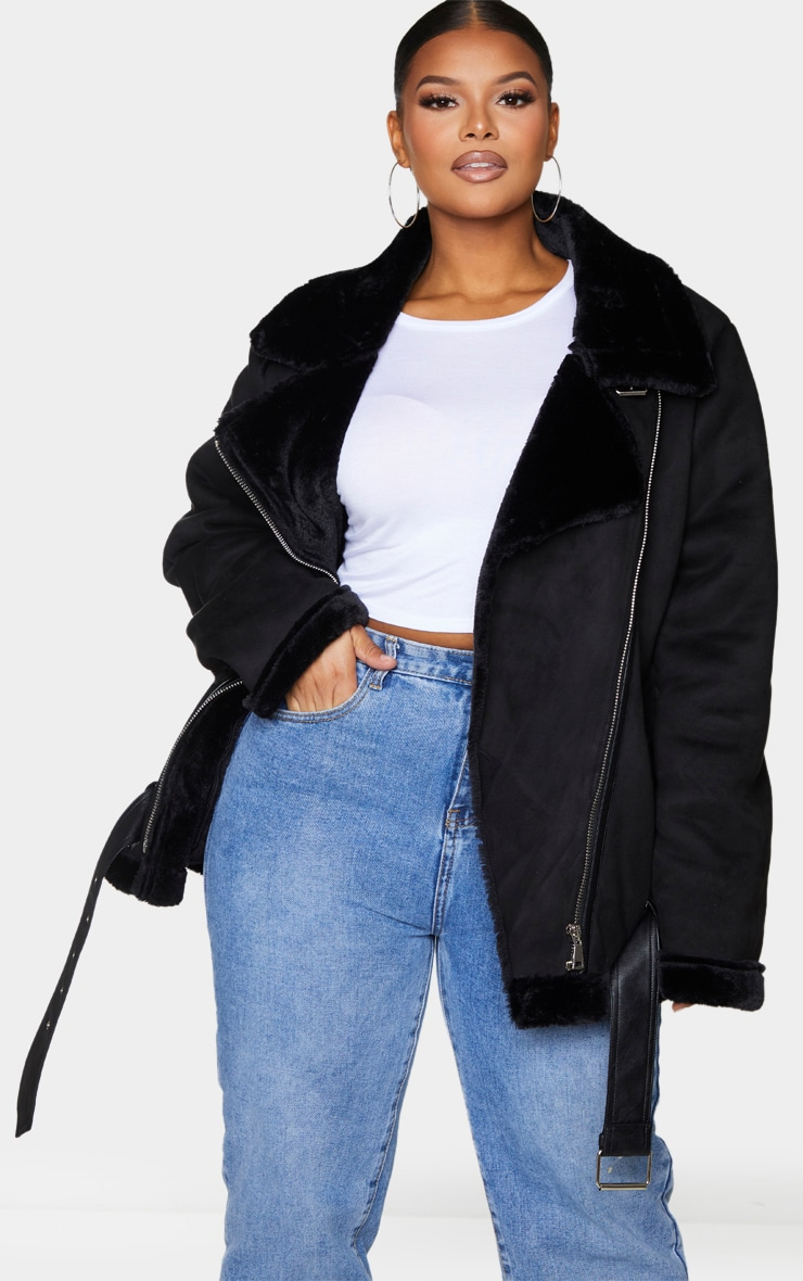 Plus Black Faux Suede Aviator Jacket 3