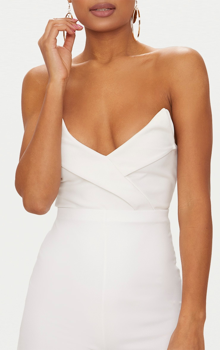 White Tux Detail Bandeau Thong Bodysuit  6
