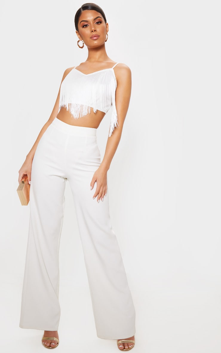 White Tassel Trim Crop Top 4