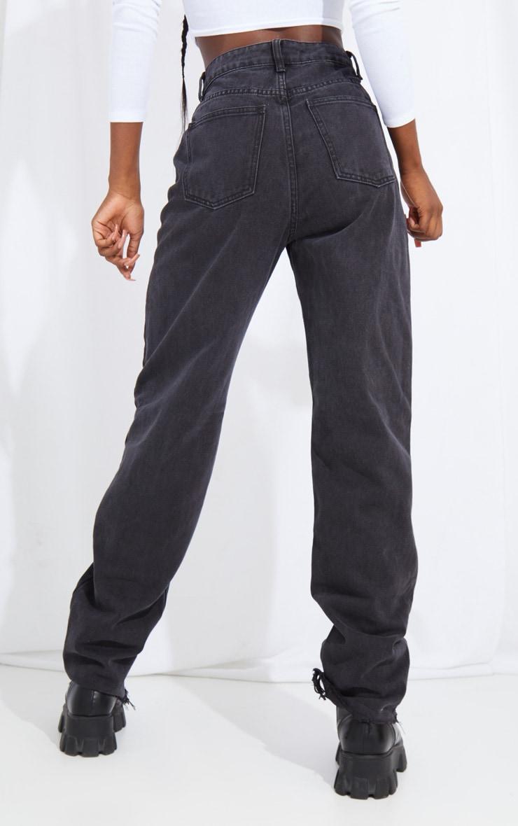 PRETTYLITTLETHING Tall Washed Black Distressed Hem Boyfriend Jeans 3