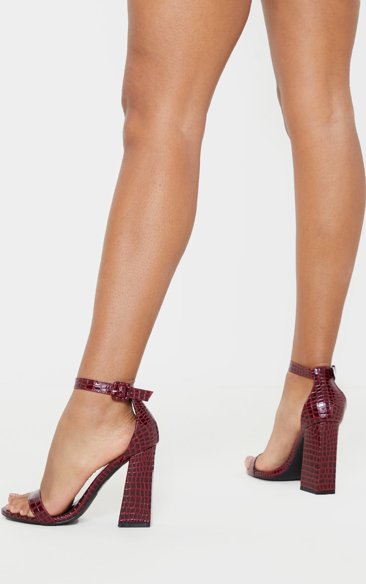 Burgundy Snake Square Buckle Ankle Strap Block Heel Sandal 2
