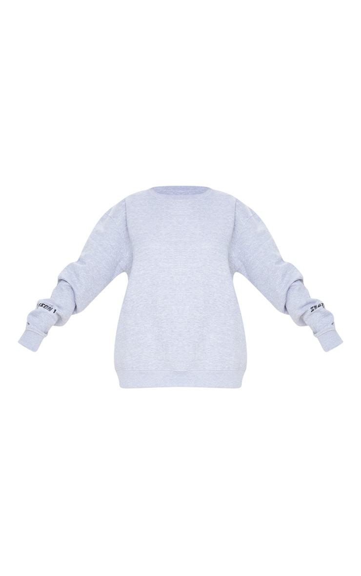 PRETTYLITTLETHING Grey Season 1 Slogan Sweater 3