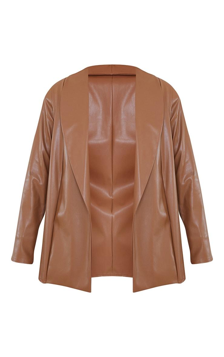 Tan Drop Collar Faux Leather Blazer 5
