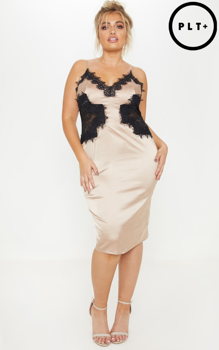Plus Champagne Satin Lace Insert Midi Dress