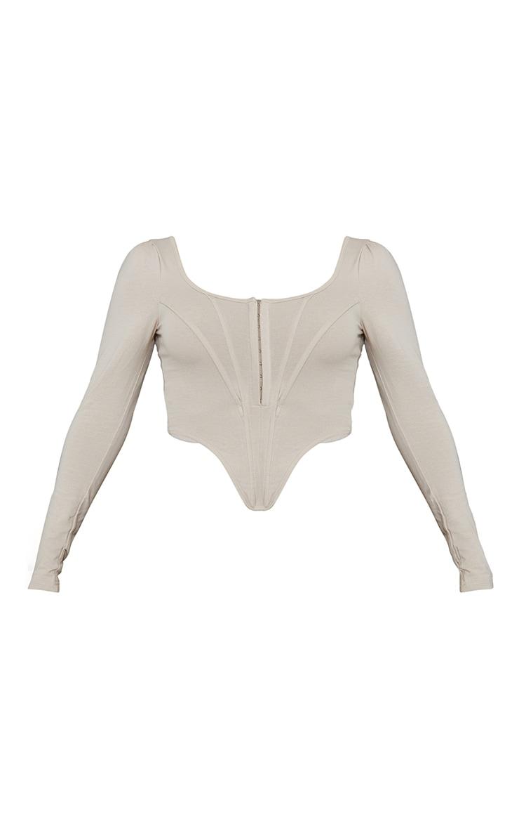 Nude Jersey Long Sleeve Pointed Hem Corset 5