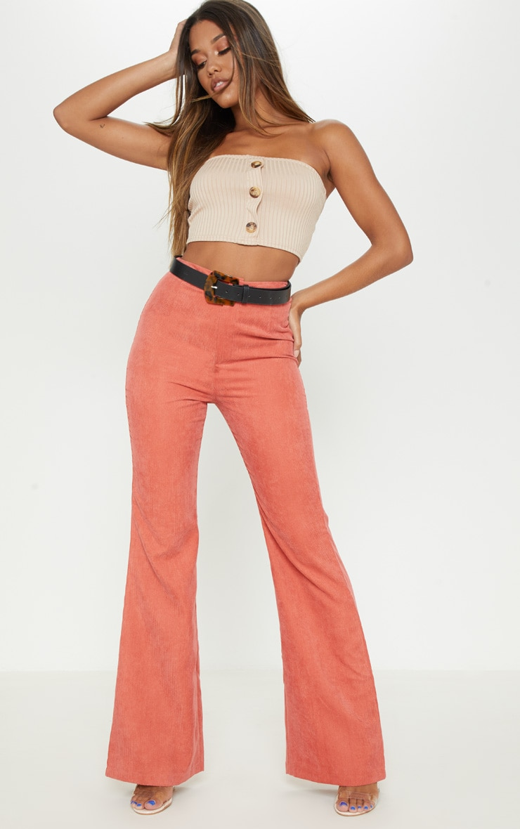 Stone Rib Button Front Bandeau Crop Top 4