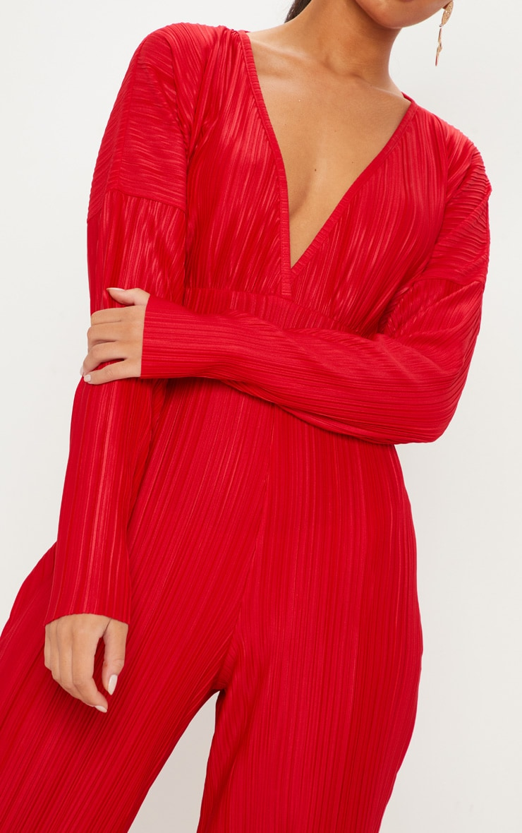 Red Long Sleeve Pleated Jumpsuit 5